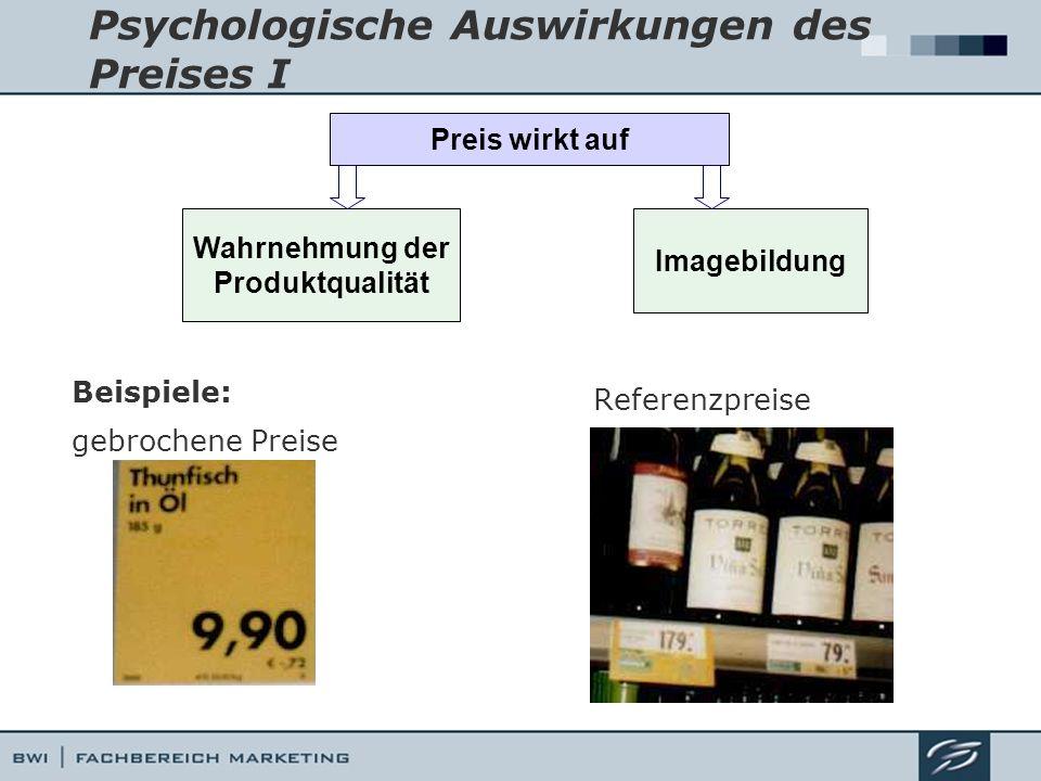 Psychologische Auswirkungen des Preises I