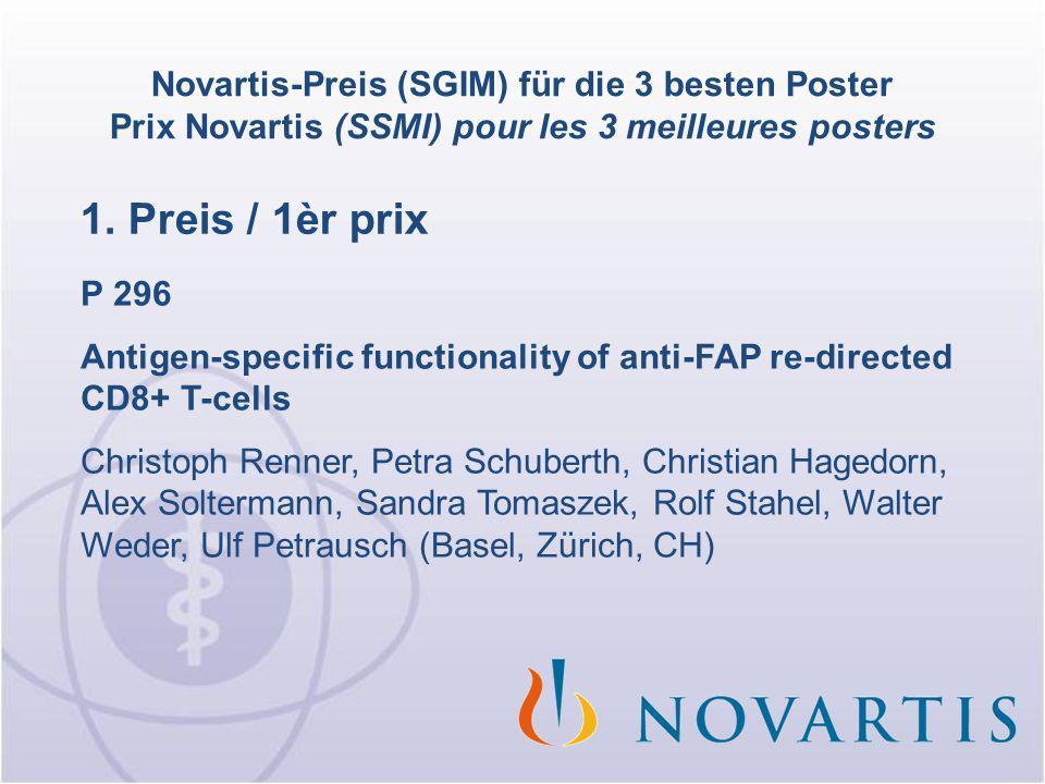 Novartis-Preis (SGIM) für die 3 besten Poster Prix Novartis (SSMI) pour les 3 meilleures posters