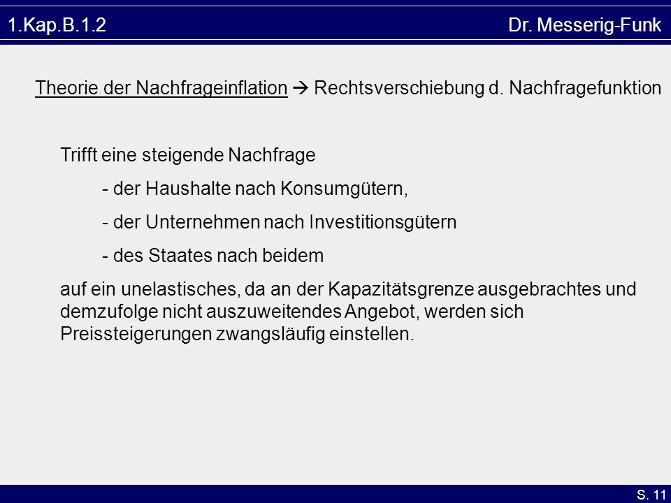 1.Kap.B.1.2 Dr. Messerig-FunkTheorie der Nachfrageinflation  Rechtsverschiebung d. Nachfragefunktion.