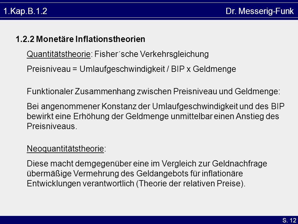 1.Kap.B.1.2 Dr. Messerig-Funk1.2.2 Monetäre Inflationstheorien. Quantitätstheorie: Fisher´sche Verkehrsgleichung.
