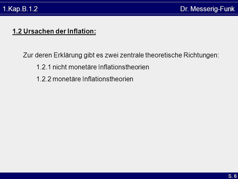 1.Kap.B.1.2 Dr. Messerig-Funk1.2 Ursachen der Inflation: Zur deren Erklärung gibt es zwei zentrale theoretische Richtungen: