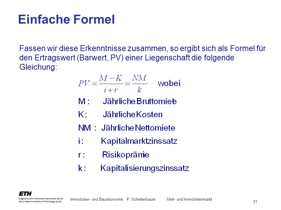Einfache Formel
