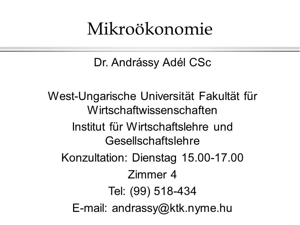 Mikroökonomie Dr. Andrássy Adél CSc