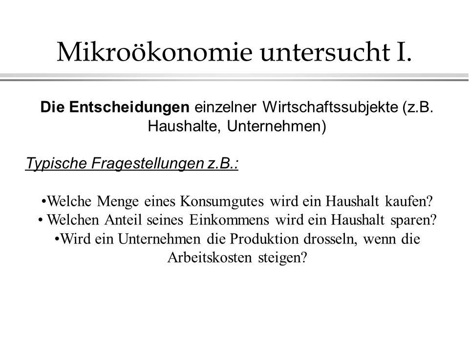 Mikroökonomie untersucht I.