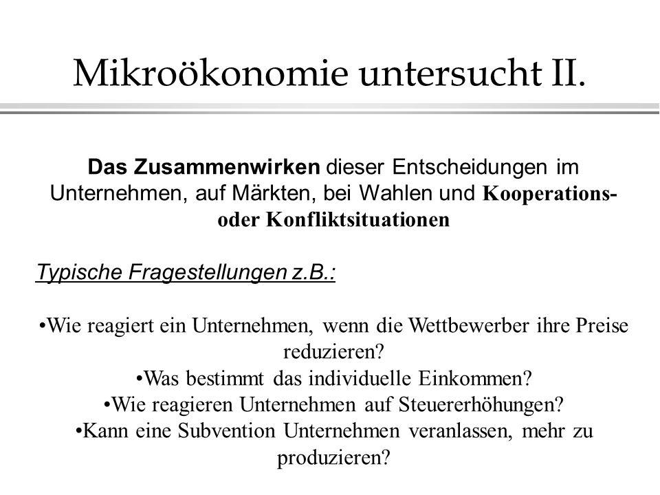 Mikroökonomie untersucht II.