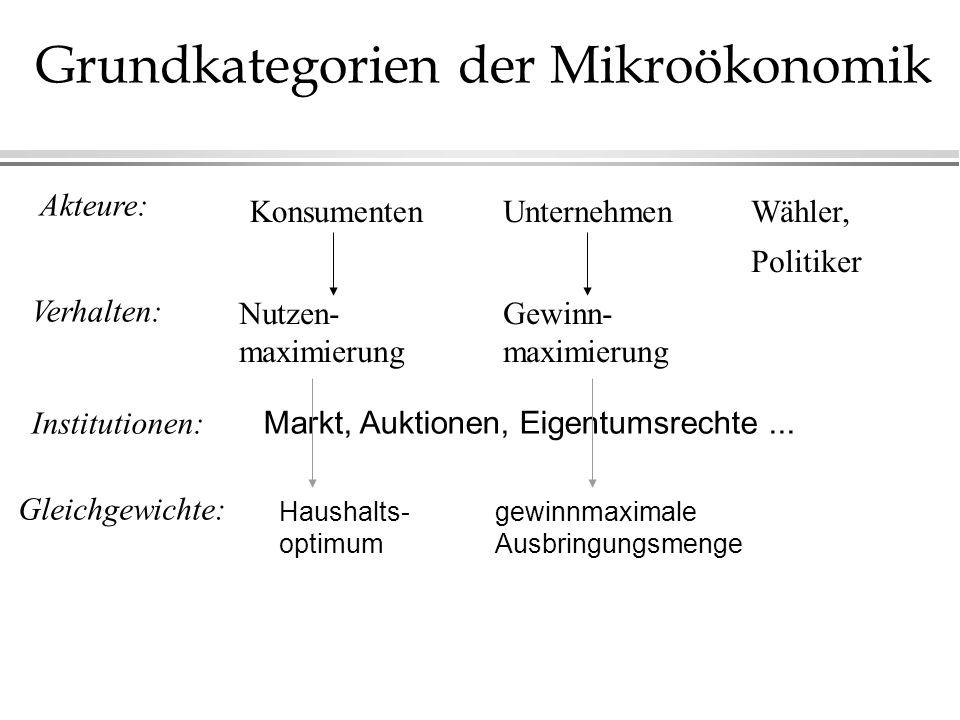 Grundkategorien der Mikroökonomik