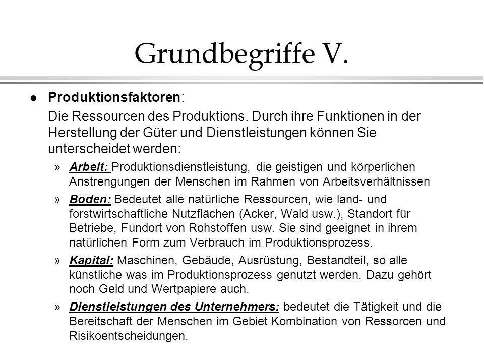 Grundbegriffe V. Produktionsfaktoren: