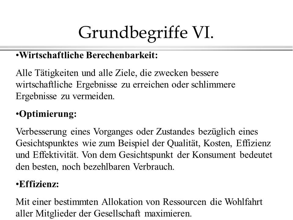 Grundbegriffe VI. Wirtschaftliche Berechenbarkeit: