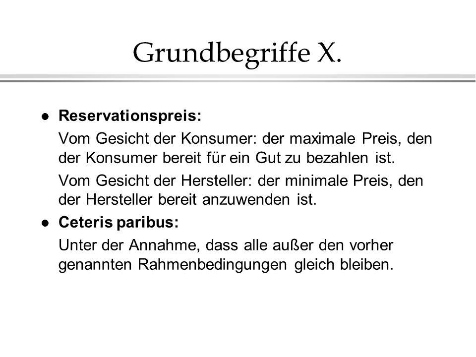 Grundbegriffe X. Reservationspreis: