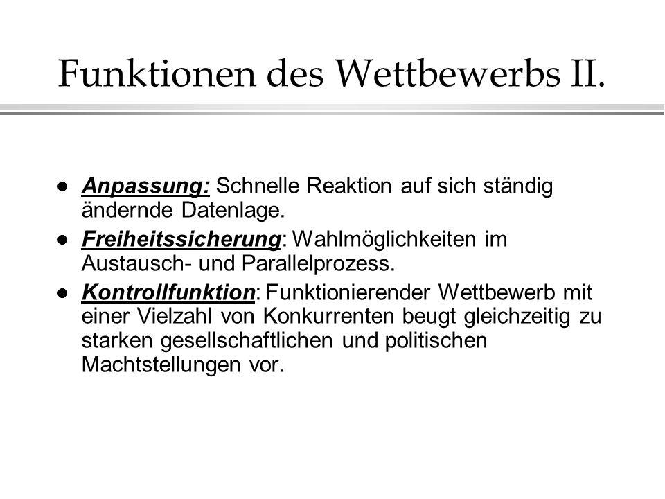Funktionen des Wettbewerbs II.