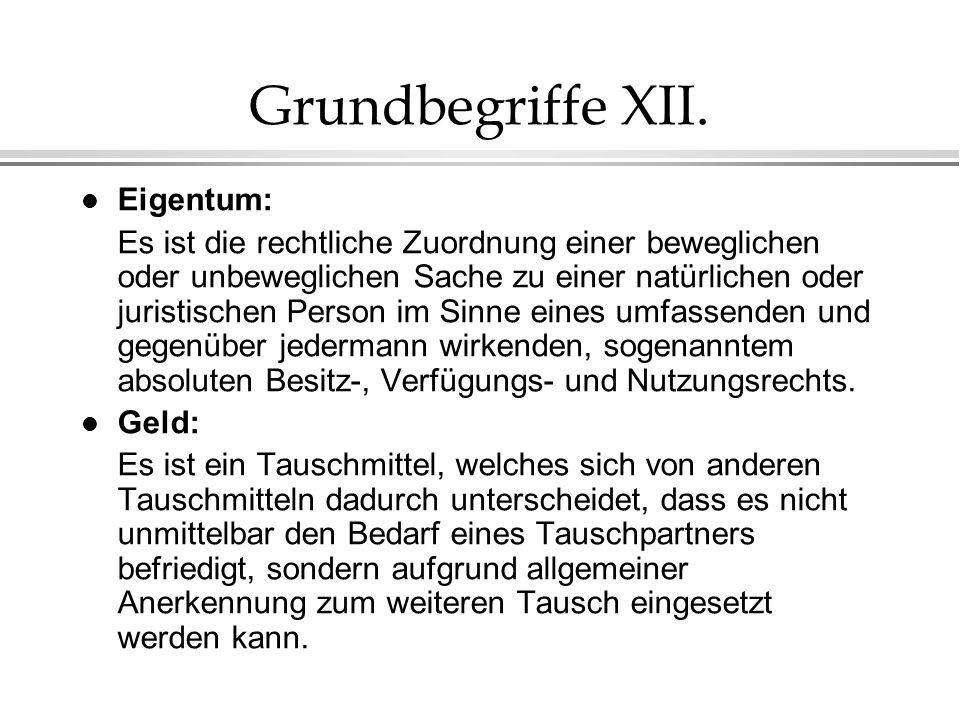 Grundbegriffe XII. Eigentum: