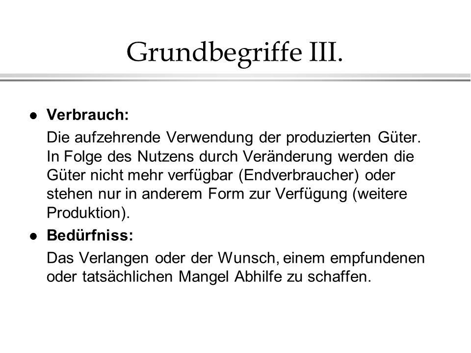 Grundbegriffe III. Verbrauch: