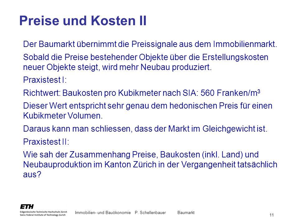 Preise und Kosten II Der Baumarkt übernimmt die Preissignale aus dem Immobilienmarkt.