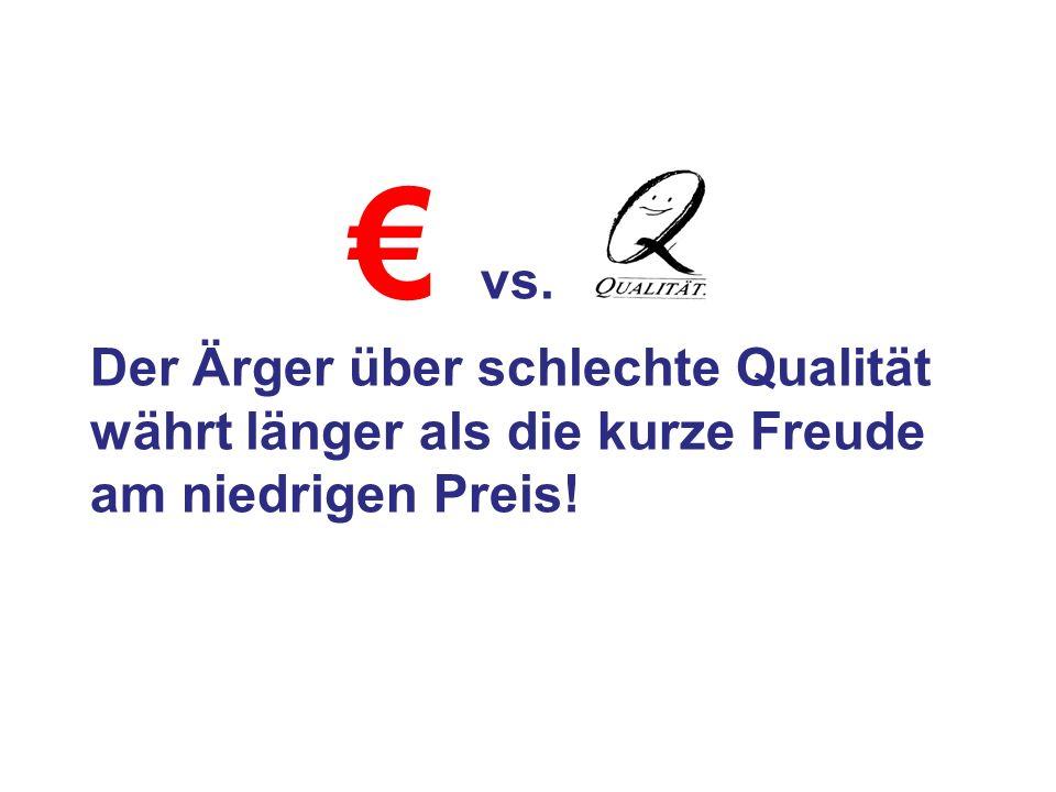€ vs. Der Ärger über schlechte Qualität währt länger als die kurze Freude am niedrigen Preis!