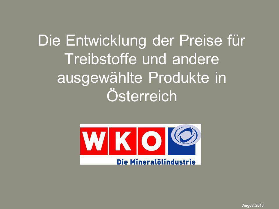 Die Entwicklung der Preise für Treibstoffe und andere ausgewählte Produkte in Österreich