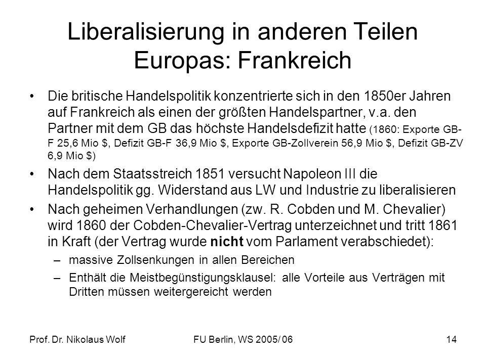 Liberalisierung in anderen Teilen Europas: Frankreich