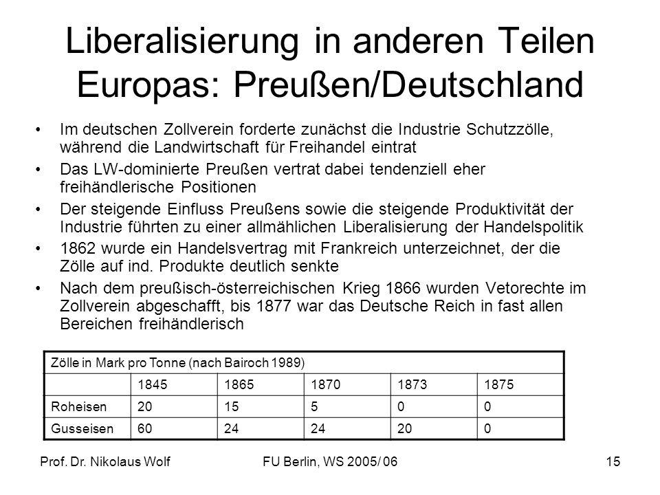 Liberalisierung in anderen Teilen Europas: Preußen/Deutschland