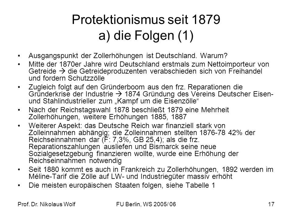 Protektionismus seit 1879 a) die Folgen (1)