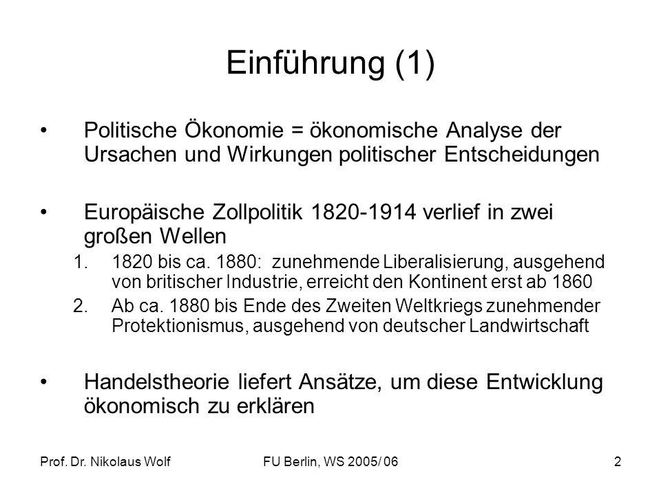 Einführung (1) Politische Ökonomie = ökonomische Analyse der Ursachen und Wirkungen politischer Entscheidungen.