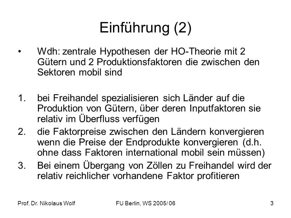 Einführung (2) Wdh: zentrale Hypothesen der HO-Theorie mit 2 Gütern und 2 Produktionsfaktoren die zwischen den Sektoren mobil sind.