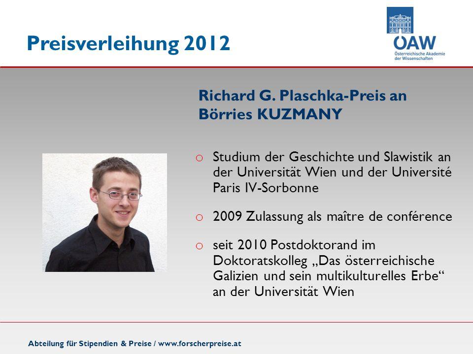 Richard G. Plaschka-Preis an Börries KUZMANY