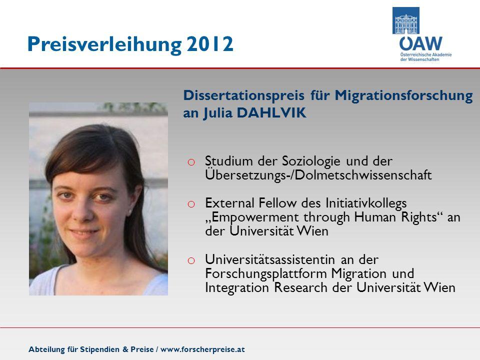 Dissertationspreis für Migrationsforschung an Julia DAHLVIK