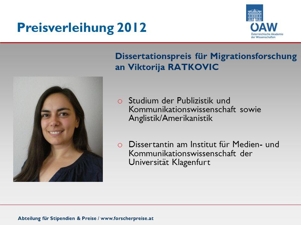 Dissertationspreis für Migrationsforschung an Viktorija RATKOVIC