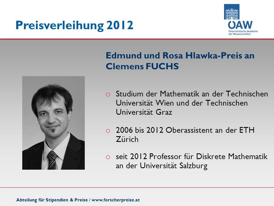 Edmund und Rosa Hlawka-Preis an Clemens FUCHS