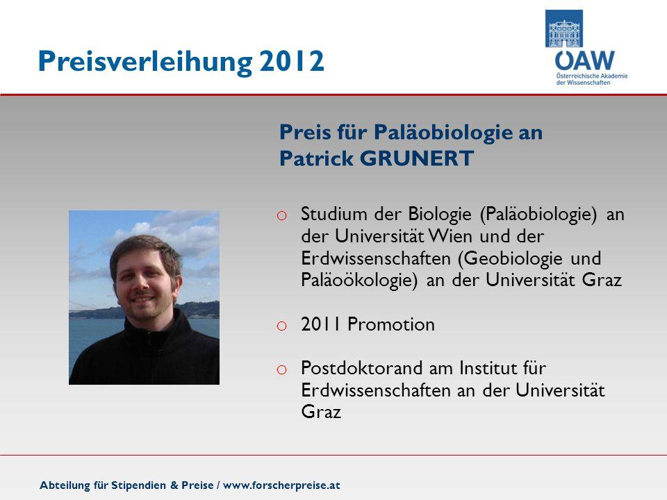 Preis für Paläobiologie an Patrick GRUNERT