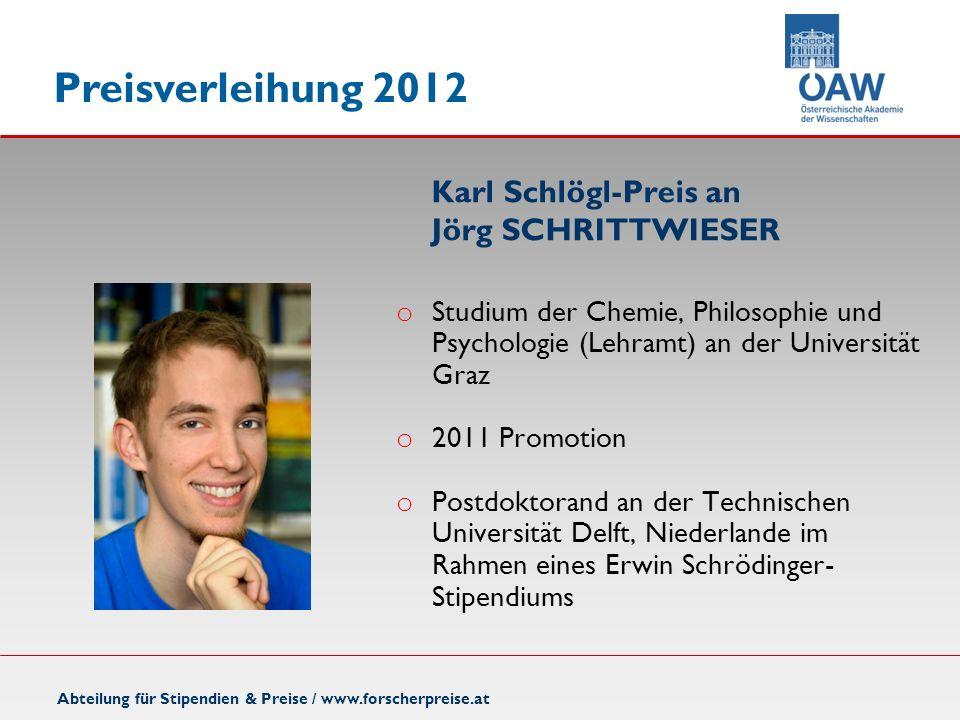 Karl Schlögl-Preis an Jörg SCHRITTWIESER
