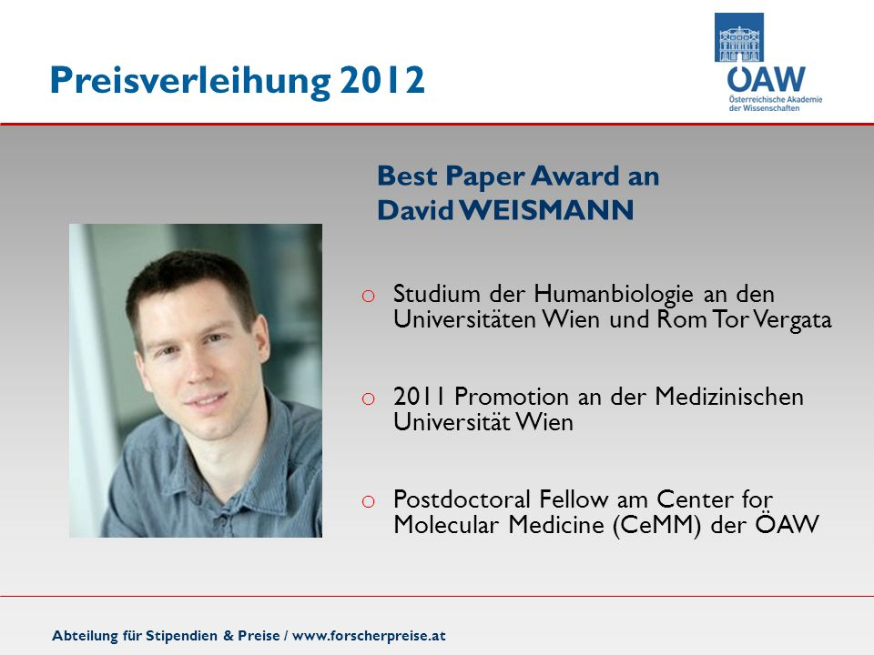 Best Paper Award an David WEISMANN