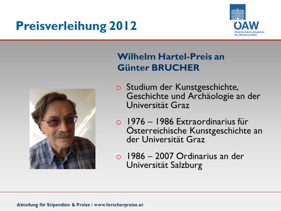 Wilhelm Hartel-Preis an Günter BRUCHER