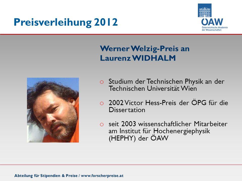 Werner Welzig-Preis an Laurenz WIDHALM