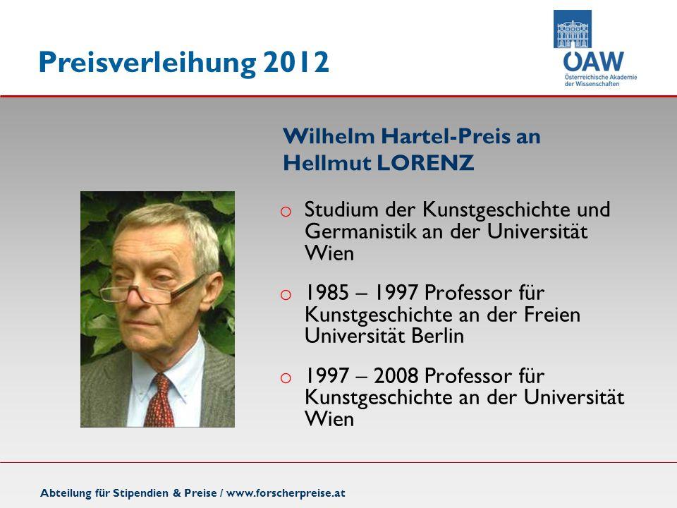 Wilhelm Hartel-Preis an Hellmut LORENZ