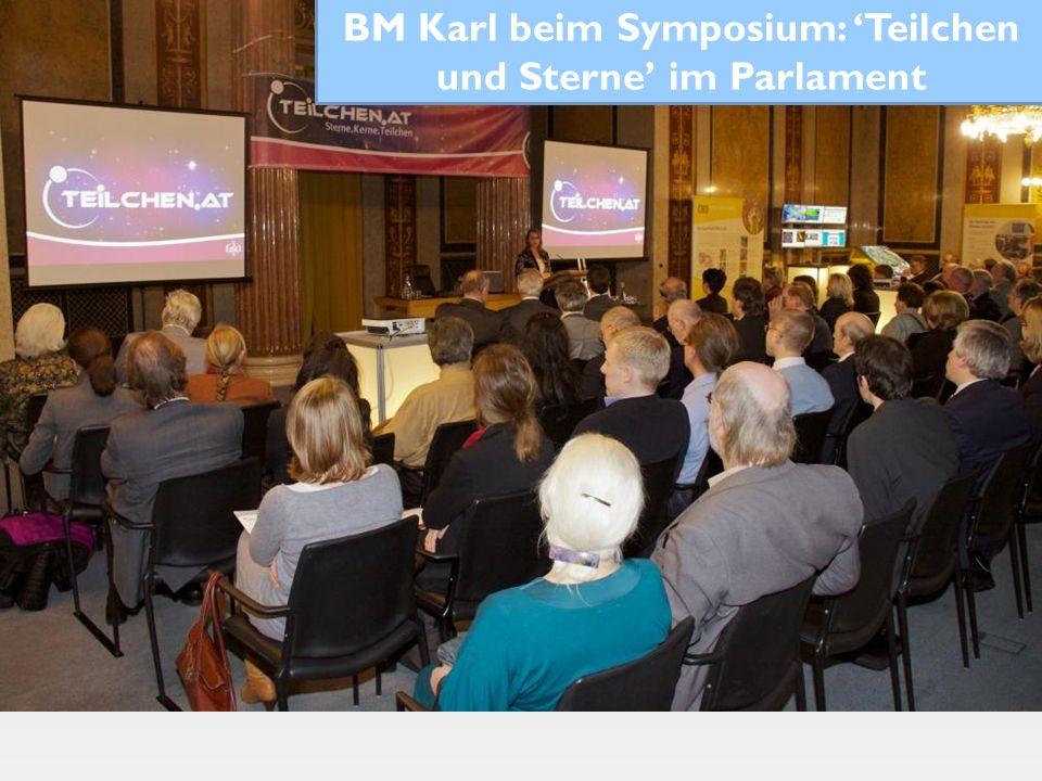 BM Karl beim Symposium: 'Teilchen und Sterne' im Parlament