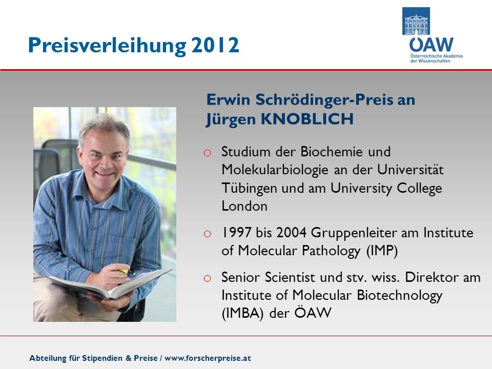 Erwin Schrödinger-Preis an Jürgen KNOBLICH