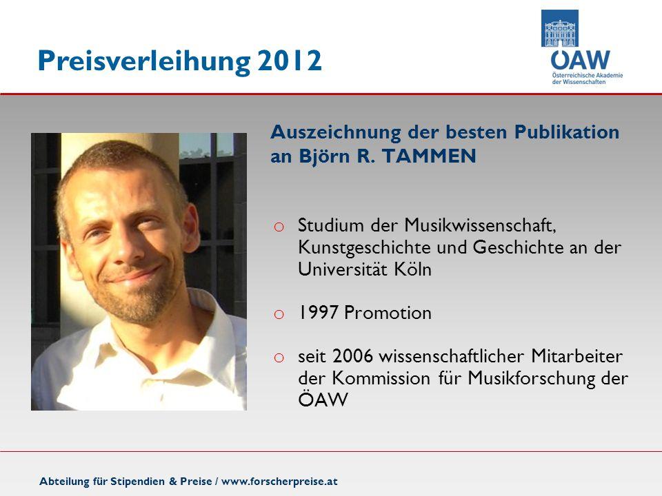 Auszeichnung der besten Publikation an Björn R. TAMMEN