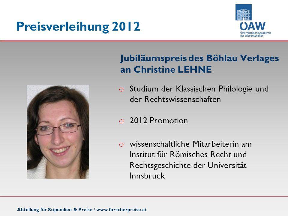 Jubiläumspreis des Böhlau Verlages an Christine LEHNE