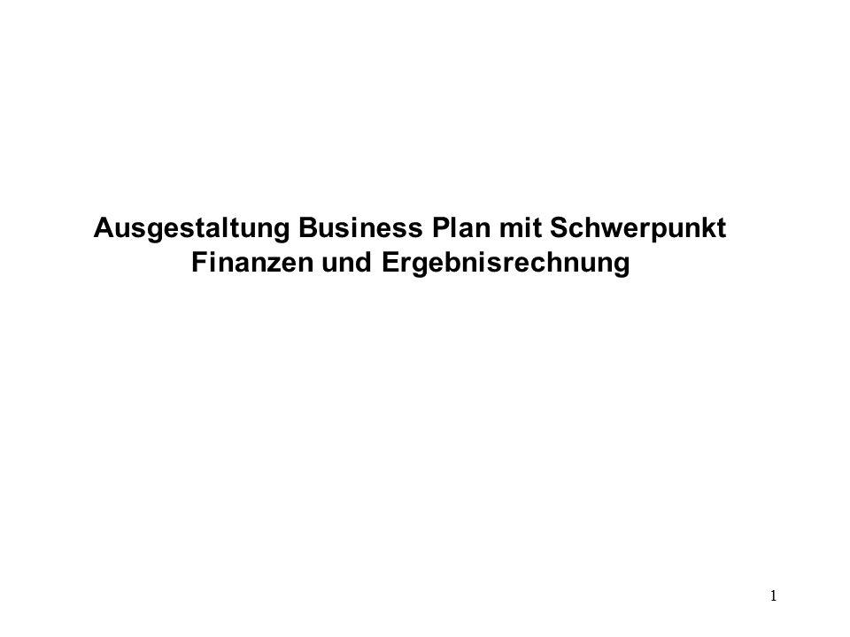 Ausgestaltung Business Plan mit Schwerpunkt