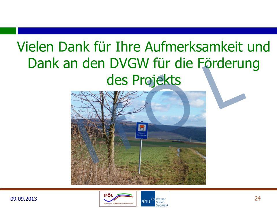 Vielen Dank für Ihre Aufmerksamkeit und Dank an den DVGW für die Förderung des Projekts