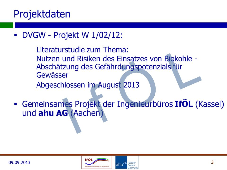 Projektdaten DVGW - Projekt W 1/02/12: