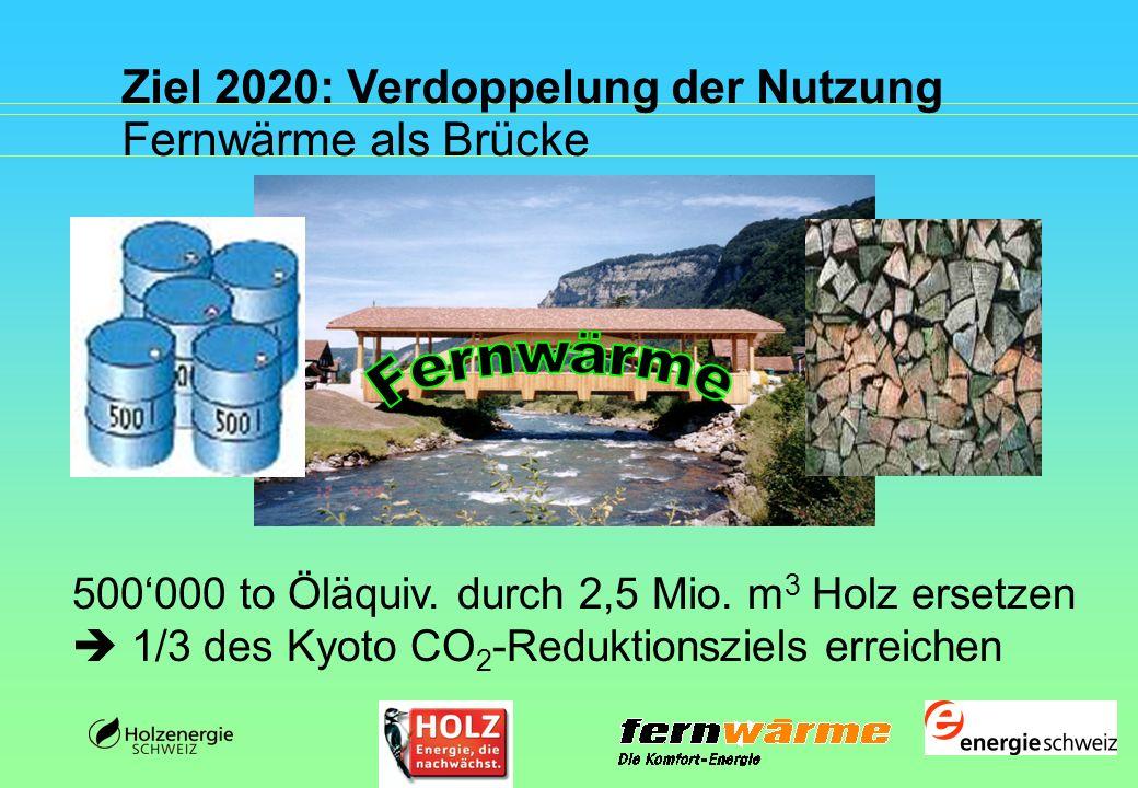 Fernwärme Ziel 2020: Verdoppelung der Nutzung Fernwärme als Brücke