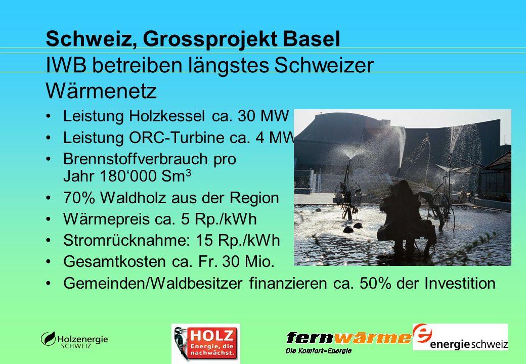 Schweiz, Grossprojekt Basel IWB betreiben längstes Schweizer Wärmenetz