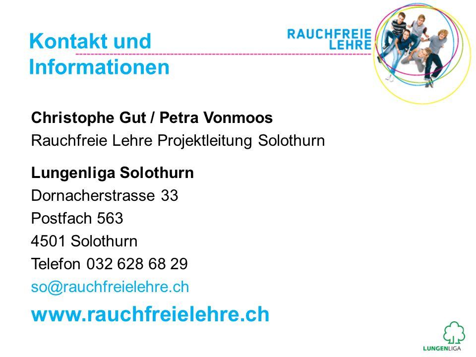 Kontakt und Informationen www.rauchfreielehre.ch