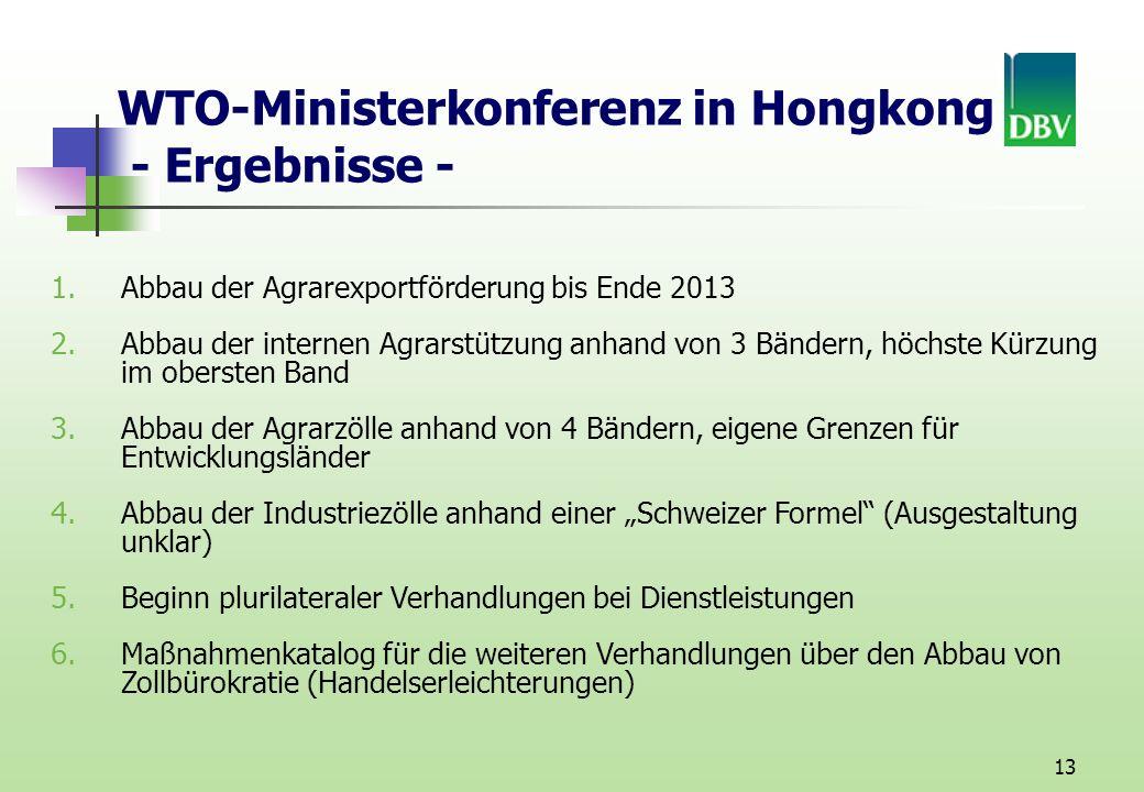 WTO-Ministerkonferenz in Hongkong - Ergebnisse -
