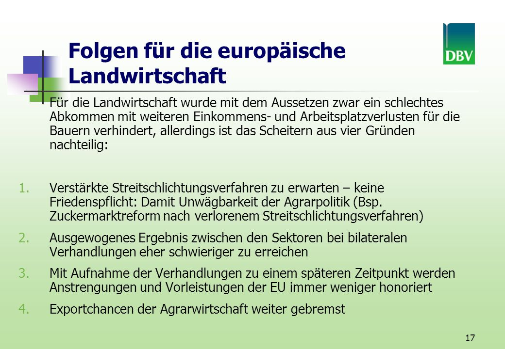 Folgen für die europäische Landwirtschaft
