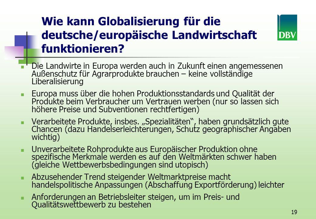 Wie kann Globalisierung für die deutsche/europäische Landwirtschaft funktionieren