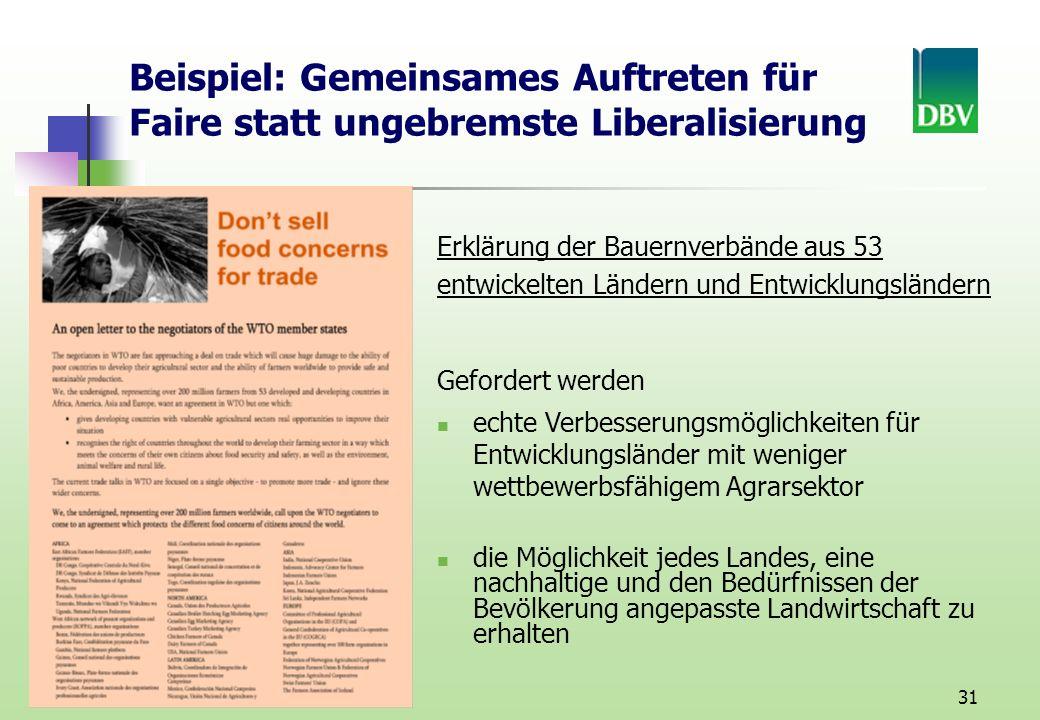 Beispiel: Gemeinsames Auftreten für Faire statt ungebremste Liberalisierung