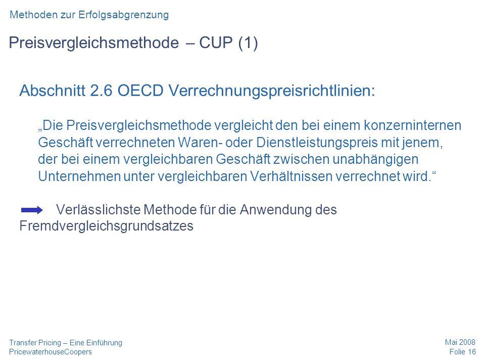 Preisvergleichsmethode – CUP (1)