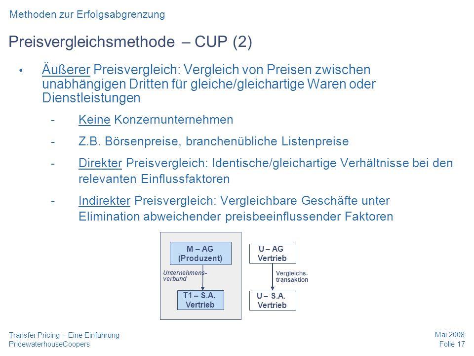 Preisvergleichsmethode – CUP (2)